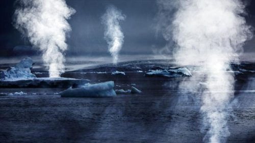 Image: Icy waters, rising steam, gas jets via Shutterstock; Edited: JR/TO