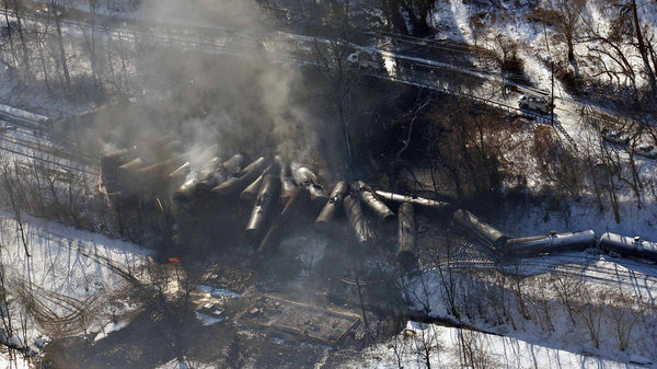Wreckage from a train derailment this week in West Virginia. Credit: Associated Press