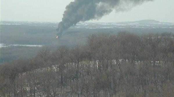 Smoke from a fiery BNSF crude oil train derailment near Galena, Ill., is seen from the Chestnut Mt. Resort. | Image from lifestream video