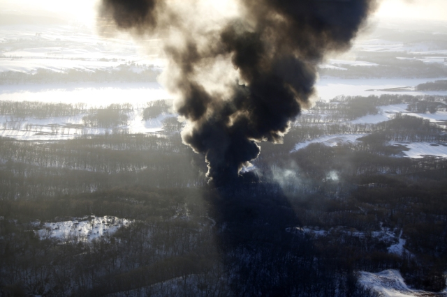 Yesterday's derailment in Galena, Ill is still burning.