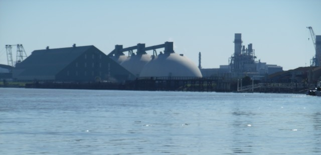 The Koch Brothers Petcoke facility across the water in Pittsburg, CA. Photo by TGriffith