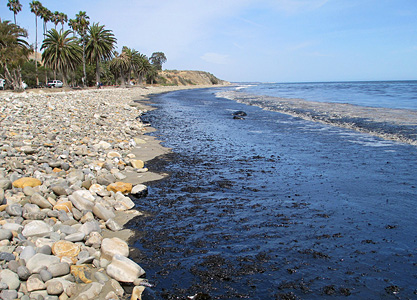 Oil on the beach at Refugio State Park in Santa Barbara, California, on May 19, 2015. (Photo by U.S. Coast Guard)