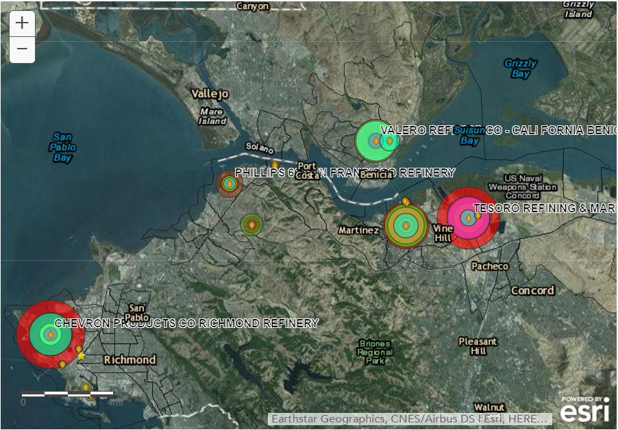 Refineries In California Map.Air Pollution In The Bay Area S Refinery Corridor Martinez